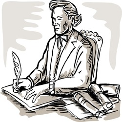 illustration of a gentleman signing a document with a quill pen
