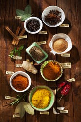 Nice composition of different spices with english labels