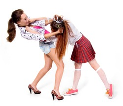 Two girls fighting on a white background.conflict girlfriend. mental nervous girls. problems.fury
