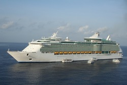 cruise ship in a tropical port