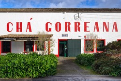 SAO MIGUEL ISLAND, AZORES, PORTUGAL - JANUARY 26, 2017: Facade of building of Gorreana tea factory (Cha Gorreana). The oldest, and currently only, tea plantation in European region.