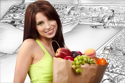 woman holding a  bag full of healthy food. shopping in mall