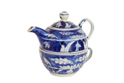 A blue nested ceramic teapot and cup