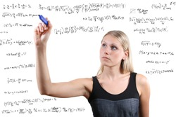 woman writes mathematical equations