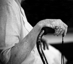 Hand of elderly woman with beautiful rings holding walking stick (black and white version)