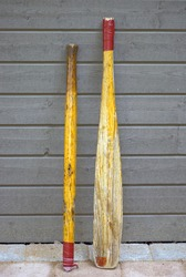 Old bats made of oar, for playing baseball, cricket or rounders
