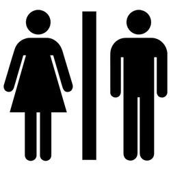 Gender symbol. Toilet symbol in unicode. Restrooms or unisex restroom. Gender pictograms are frequently used to mark public toilets. Vector Format.