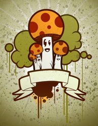 Cartoon Mushrooms with Banner
