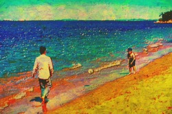 original painting of father and son playing soccer on beach