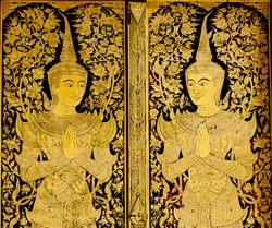 Temple Door Art, at  Wat Phra Singha, Chiangmai Thailand