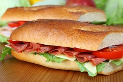Closeup of a fresh sandwich with salami, swiss and tomatoes