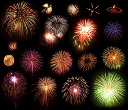 A Collection of Multi Colored Fireworks on a Black Background