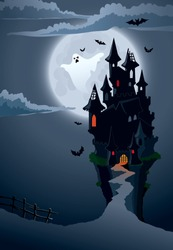 Halloween scary castle, perfect illustration for Halloween holiday