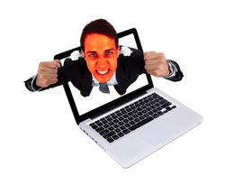 Angry man coming out from laptop, isolated on white