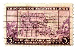 UNITED STATES OF AMERICA - CIRCA 1936: A stamp printed in the United States of America shows image of The Oregon Territory maps, circa 1936
