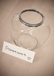 Empty Donation Jar Concept Image of Greed