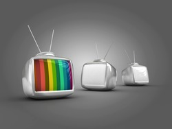 3d Stylish classic televisions -colorful no signal