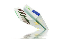 plane with euro banknotes falls into the water