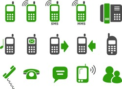 Vector icons pack - Green Series, phones collection
