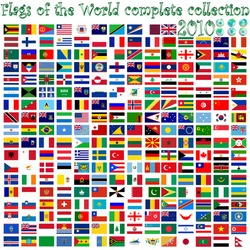 flags of the world and earth globes, abstract art illustration