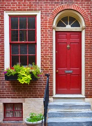 colorful historical house in Philadelphia, Pennsylvania