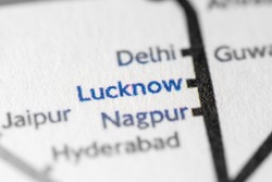 Lucknow, India on a geographical map.