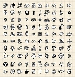 100 hand draw  web icon