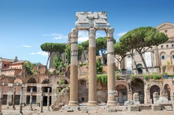 The 3 columns Corinthian order of the temple of Castor and Pollux (Tempio dei Dioscuri) is an ancient edifice in the Roman Forum, Rome, Italy.