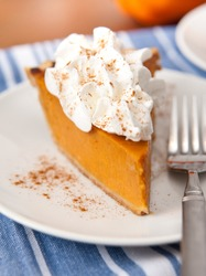 Slice of Freshly Baked Pumpkin Pie