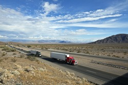 I-15 freeway deep in the center of California's Mojave desert between Los Angeles and Las Vegas.