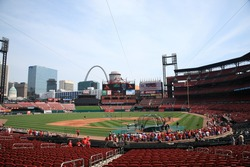 ST. LOUIS - SEPTEMBER 18: Batting practice before a baseball game at Busch Stadium between the Cardinals and Padres, with both teams fighting for a playoff berth, on September 18, 2010 in St. Louis.