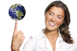 A portrait of a beautiful young woman with Earth on her finger over white background