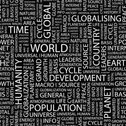 WORLD. Seamless vector pattern with word cloud. Illustration with different association terms.