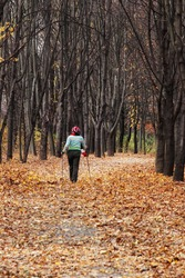 woman with Nordic walk sticks in autumn forest alley with selective focus