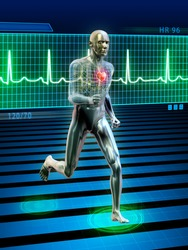 Conceptual image of a running man and its heart rhythm. Digital illustration.