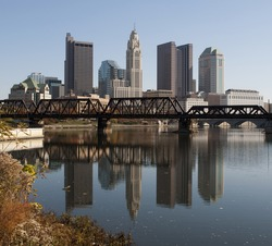 A view of the skyline of Columbus, Ohio.