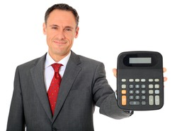 Attractive businessman holding calculator. All on white background.