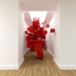3D rendering of a corridor with red cubes floating in the air