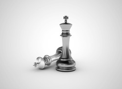 Silver chess kings success concept illustration