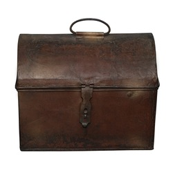 Old brown chest separately on a white background