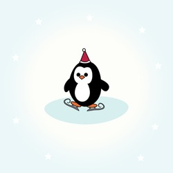 simple card illustration of cartoon penguin with christmas hat and ice skates