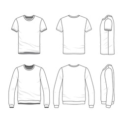 Similar Images To Vector Clothing Templates Blank T Shirt And Sweatshirt Fashion Set Of Sportswear Line Art Illustration