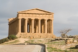 Ruins of Temple of Concord in Valley of the Temples in Agrigento (Akragas), Sicily. After Theseion in Athens, it is the best preserved Greek temple in the world.