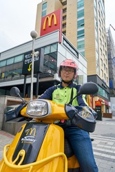 SEOUL, SOUTH KOREA - CIRCA MAY, 2017: McDonalds delivery in Seoul. McDonald's is an American hamburger and fast food restaurant chain.