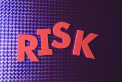 risk word on blue neon background, part of a series of business words