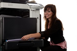 Young woman at the copy machine 9975