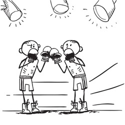Sketch style illustration of a boxing fighters