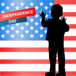 The day of independence of the United States, the fourth of July. The concept of children's patriotism. Illustration for your design. vector. Horizontal orientation