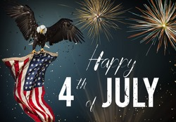 American feast 4Th of July, Independence Day. North American Bald Eagle flying with American flag.