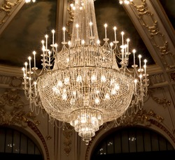vintage crystal lamp inside theater